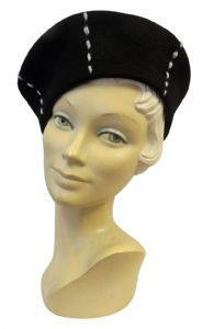 New Ladies Vtg 1930s 40s WW2 Wartime Felt Stitch Detail Beret Hat